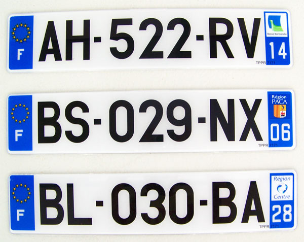 Plaque d'immatriculation automobile en plaxi